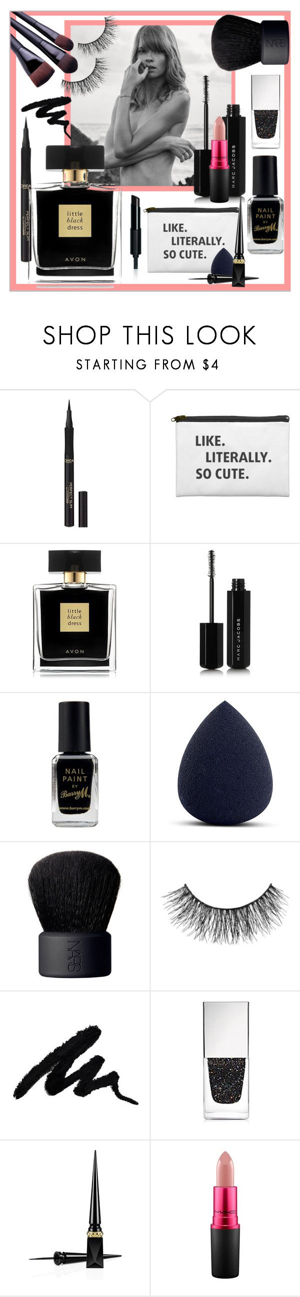 """""""So cute black with a touch of pink 🌸"""" by frenchfriesblackmg ❤ liked on Polyvore featuring beauty, L'Oréal Paris, Avon, Marc Jacobs, Barry M, My Makeup Brush Set, NARS Cosmetics, Miss Selfridge, Givenchy and Christian Louboutin"""