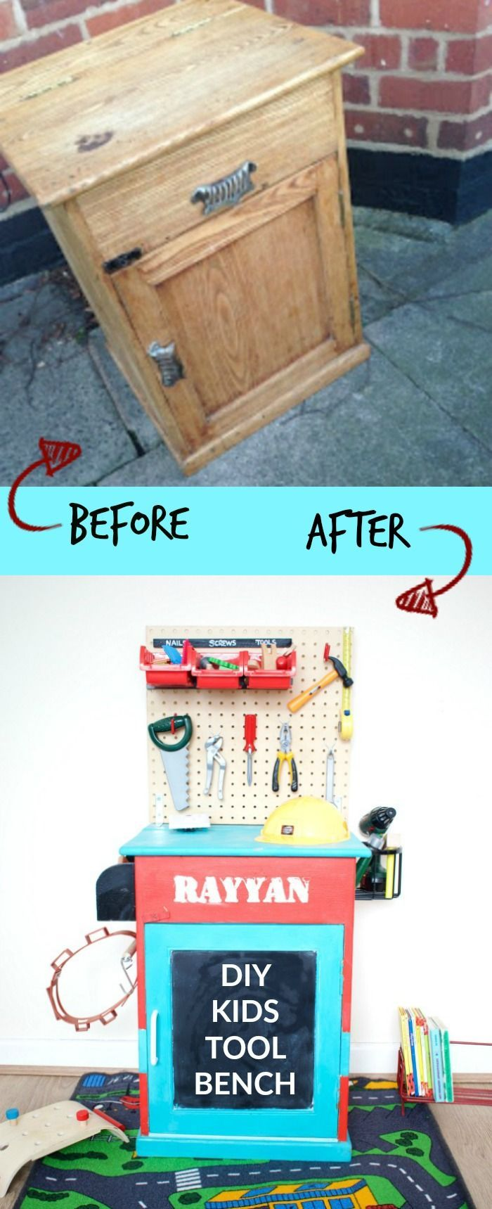I upcycled an old wooden cabinet to make this DIY kids tool bench for my soon. He absolutely loves it. Find out how I did it here!