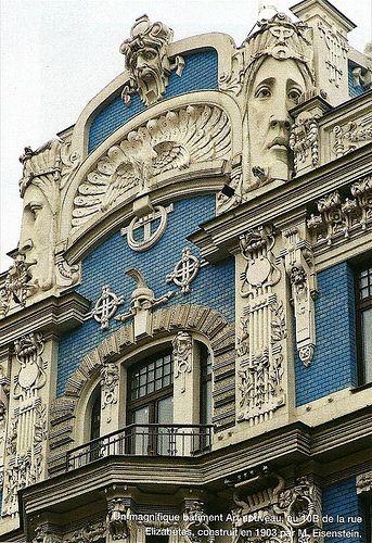 Art Nouveau façade by M. Eisenstein, Riga, Latvia, 1903