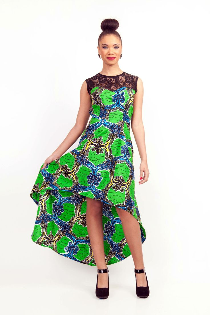 Lace top african print high low dress
