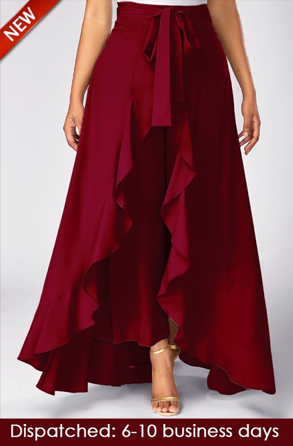 Wine Red Tie Waist Overlay Pants, new arrival, free shipping worldwide, yes or no? check it out.
