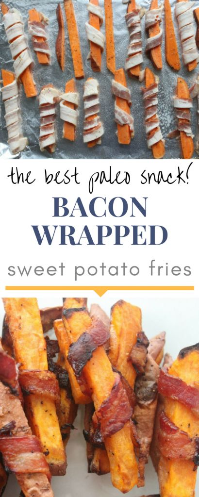 The best paleo snack! Perfect for parties! Paleo bacon wrapped sweet potato fries!