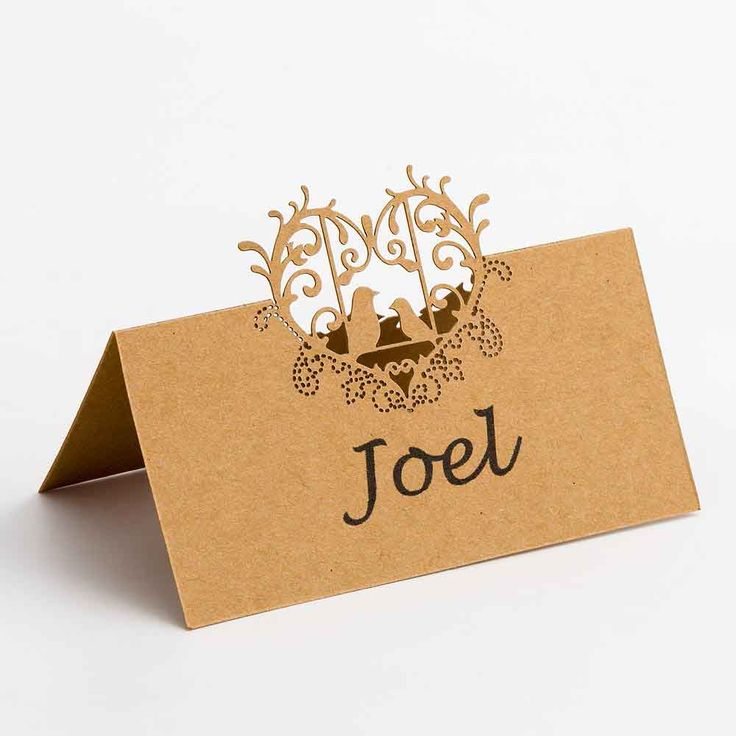 Kraft Filigree Love Birds Place Cards