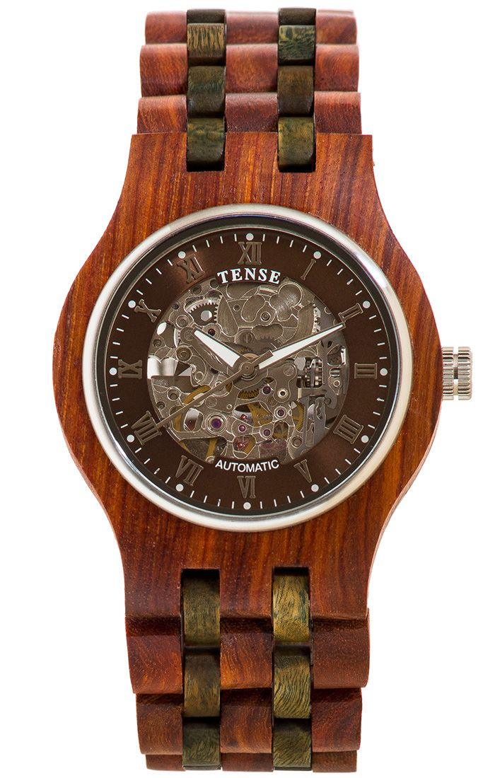 Tense Men's Columbia Skeleton Automatic Watch in Rosewood and Green Sandalwood - $970 at tensewatch.com.