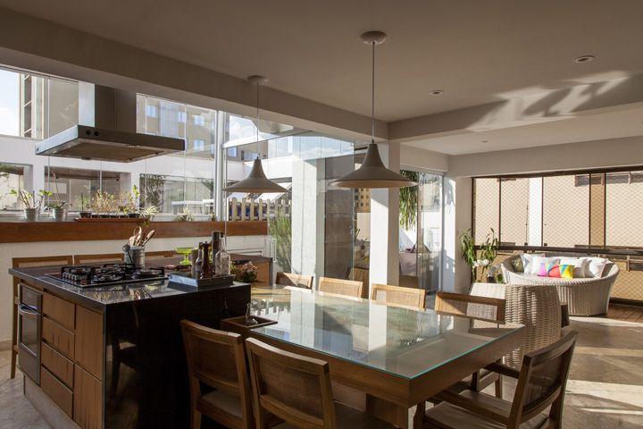 Decoração de Cozinha integrada  ilha gourmet; Casa de Valentina  Interiore # Cozinha Com Ilha E Sala Integrada