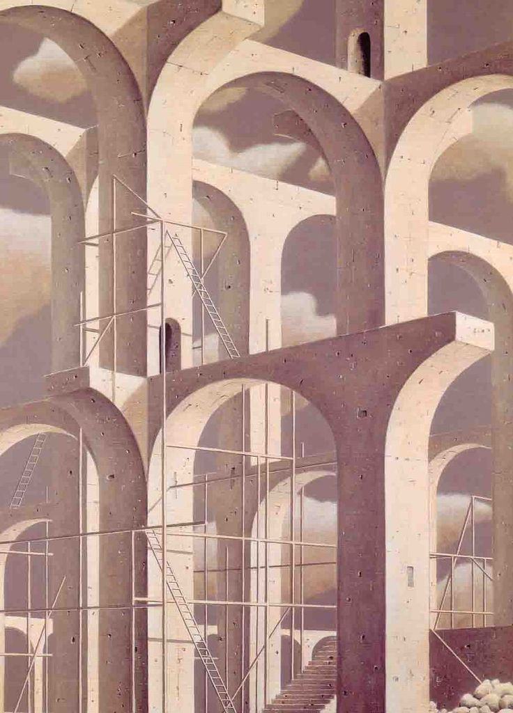 Fusion of fantasy and architecture. drawing of Minoru Nomata Oil on Canvas Nomata appropriates shapes known to us to create an image we can understand, but becomes more confusing the more you study it. I like this sense of double layers to the paintings.