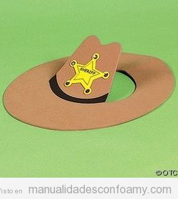 Sombrero de vaquero o cowboy hecho con foamy o goma Eva