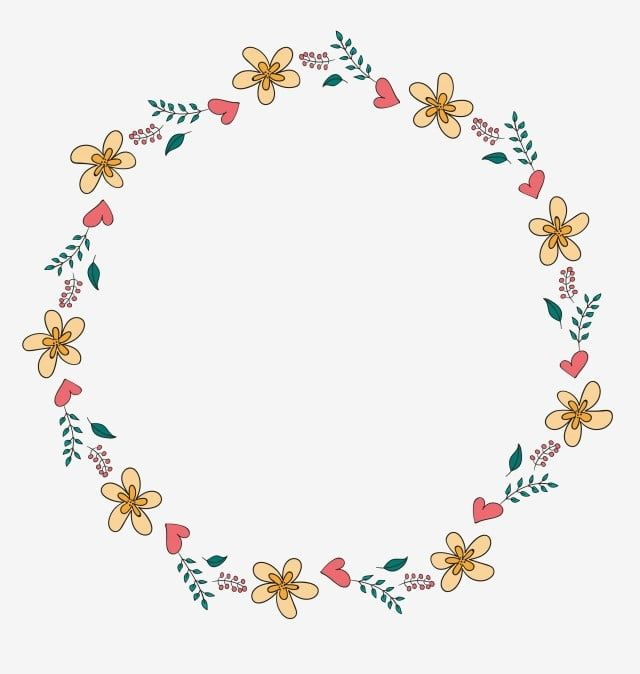 Cartoon Border Yellow Border Flower Border Frame Round Border Heart Border Cute Heart Border Png And Vector With Transparent Background For Free Download Flower Border Round Border Flower Frame