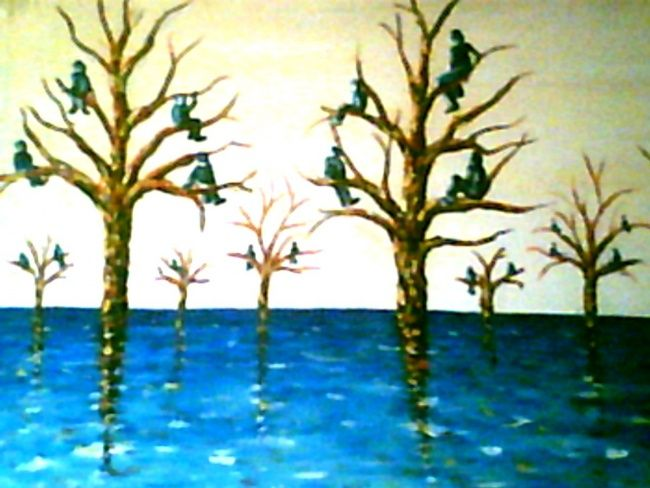 solidaires - Painting,  56x88 cm ©2008 by Mohamed Sakhri -