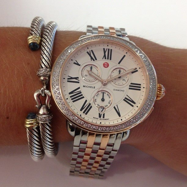 Here is a sneak peek of the newest Michele Serein Watch, paired with two David Yurman bracelets!