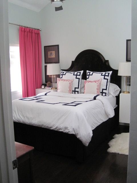 Before Amp After Master Bedroom Pink And Navy Greek Key
