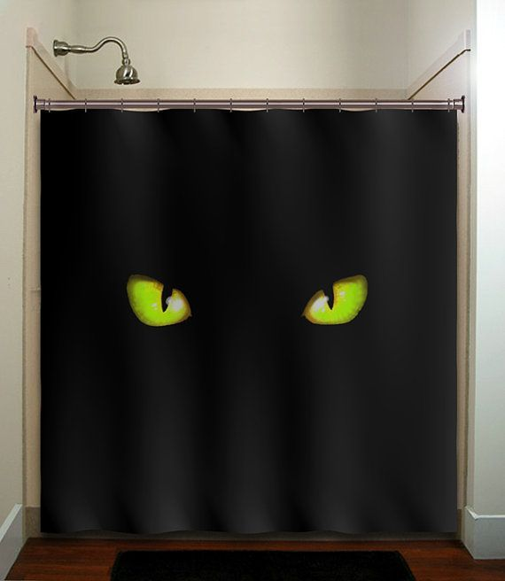 Green Eyes Cat Shower Curtain For My Sons Bathroom