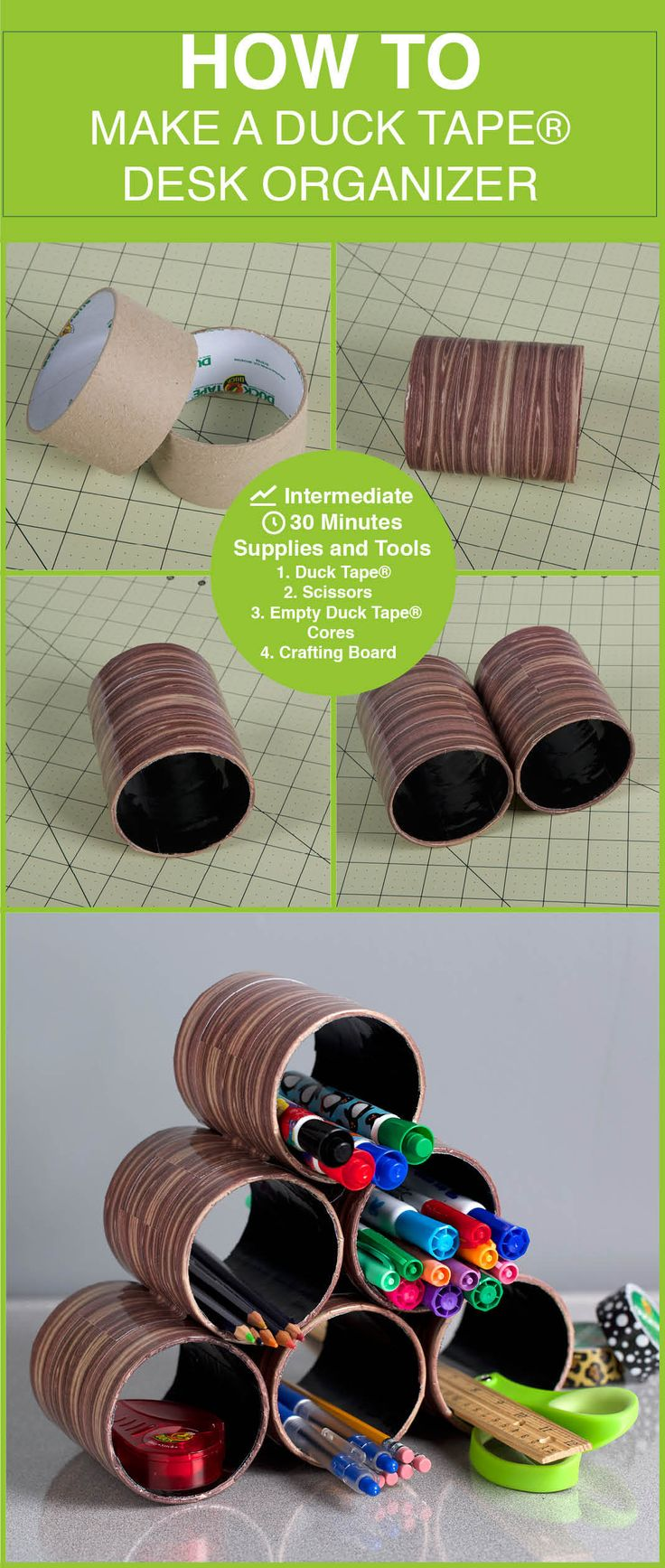 Reuse duct tape cores to make this desk organizer: