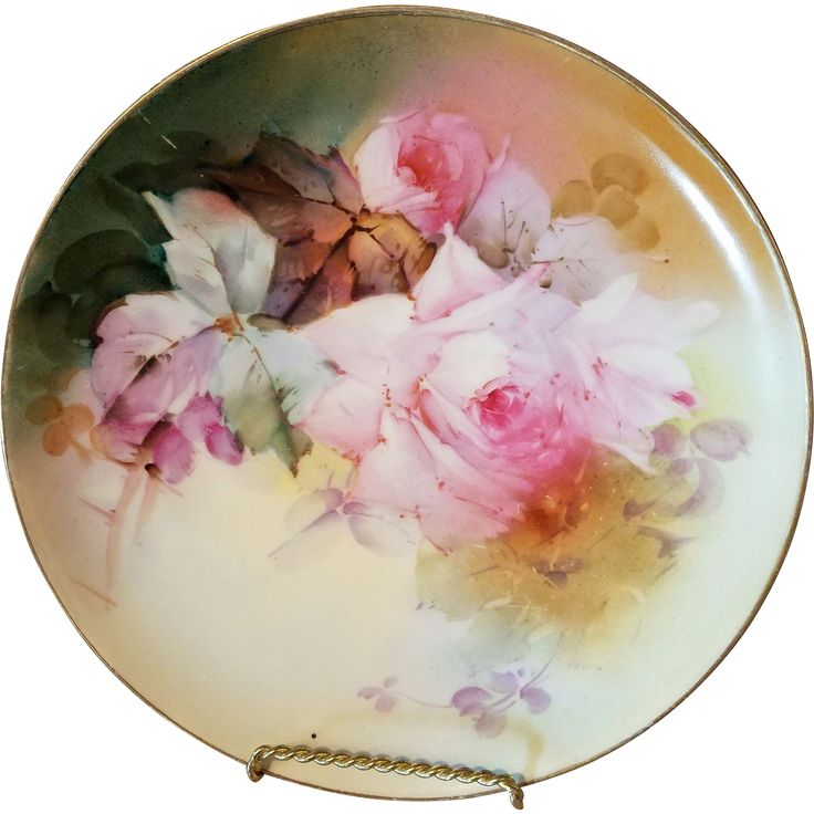 Haviland Limoges Hand Painted Rose Plate Plaque