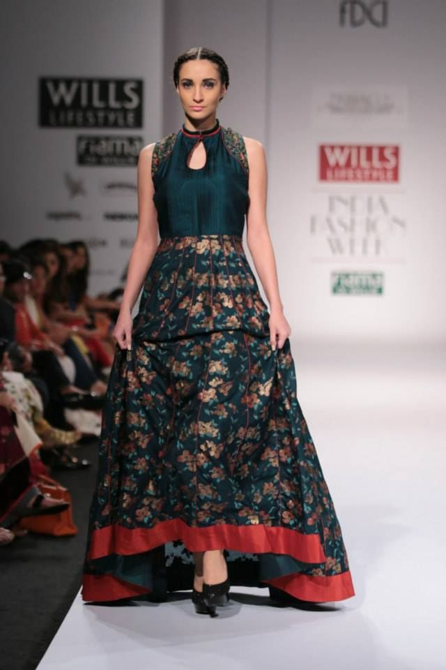 Pinnacle by Shruti Sancheti Wills Lifestyle India Fashion Week 2014 green flower Indian anarkali dress #salwaar kameez #chudidar #chudidar kameez #anarkali #anarkali suits #dress #indian #outfit  #shaadi #bridal #fashion #style #desi #designer #wedding #gorgeous #beautiful
