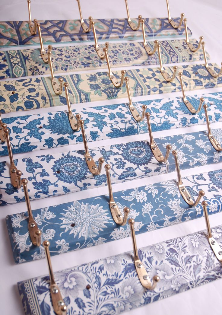 Coat hooks decoupage patterns. £10.00, via Etsy. great idea for downstairs bathroom at sw