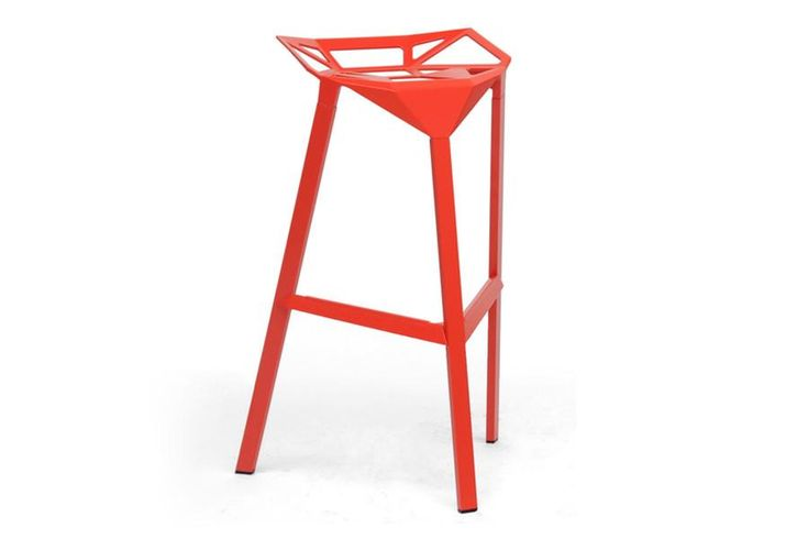 Baxton Studio Kaysa Red Aluminum Modern Bar Stool - Set of 2