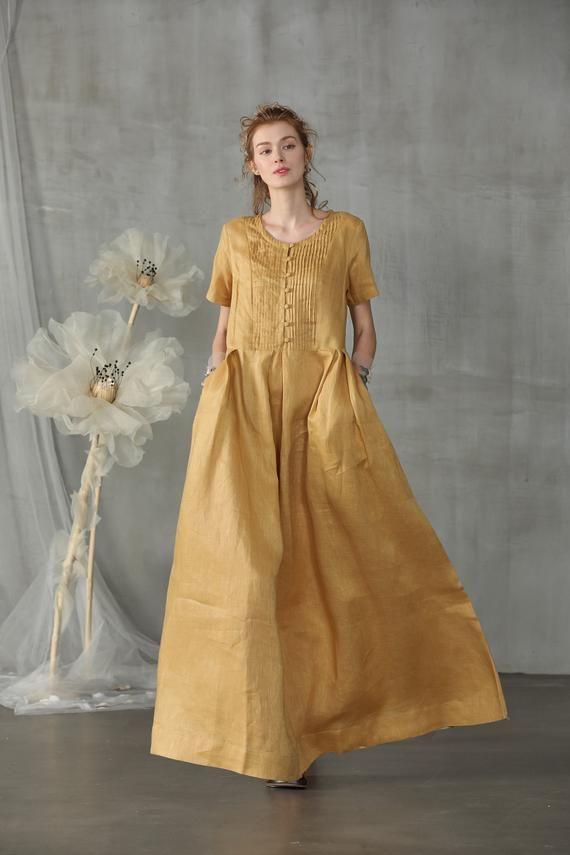 Linen Dress Maxi Dress Wedding Dress Circle Dress With Pockets