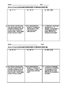 Adding Integers Homework free