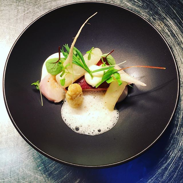 Pork belly, white asparagus, turnip in salt crust