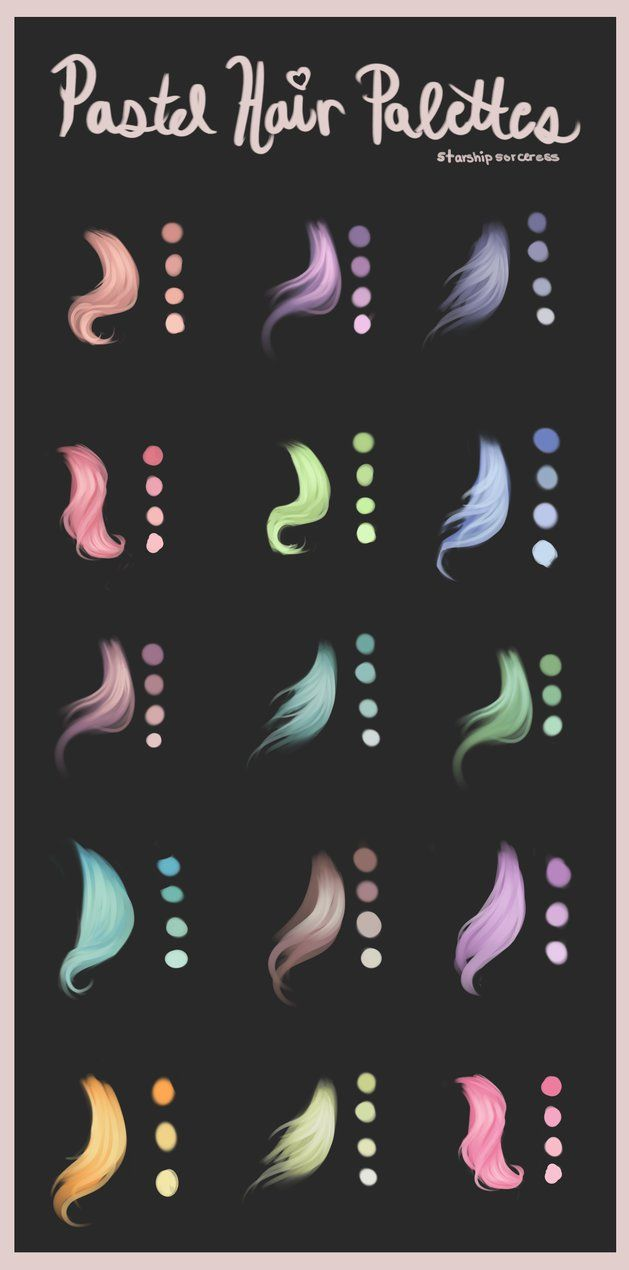 As requested, some hair palettes in varying pastel shades. Made with Paint Tool Sai, but can be used in any program. If you have questions, just ask! Hope these are useful Other Tuts and Resources:
