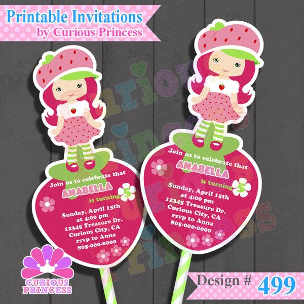 Cutest cute Strawberry shortcake invitations by Curious Princess $15.00 invites with strawberries cake toppers centerpiece unique ideas candy buffet supplies decorations birthday party girl girly unique ooak only at www.CuriousPrincess.com