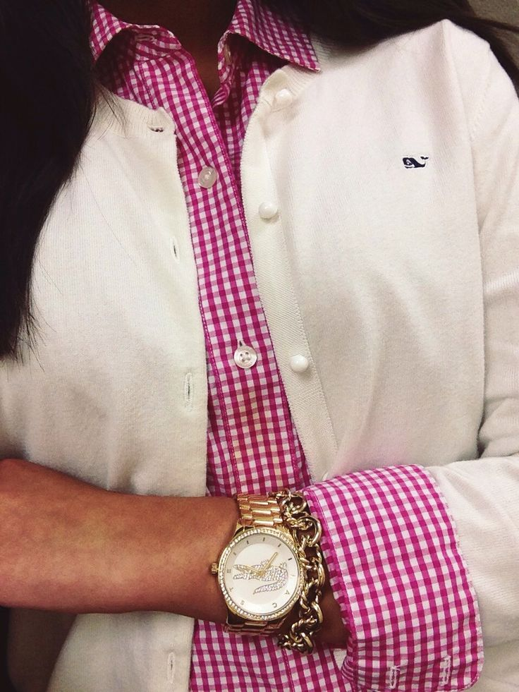 Cardigan, gingham shirt, & a classic watch