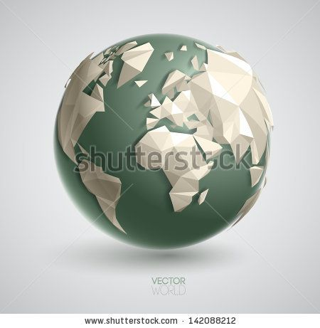 Vector world globe illustration, with 3d triangular map of the earth, and smooth shadows. The artwork is entirely vector based, and all elem...