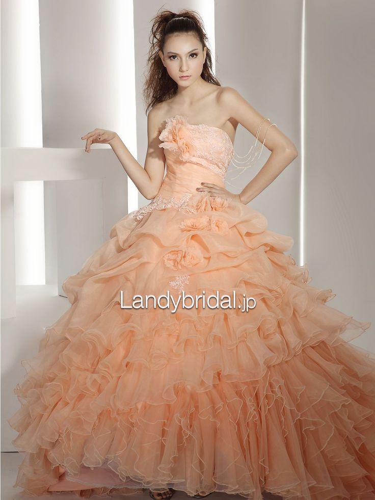 カラードレス オーガンジー オレンジ プリンセス フリル お色直し 花嫁ドレス B90099