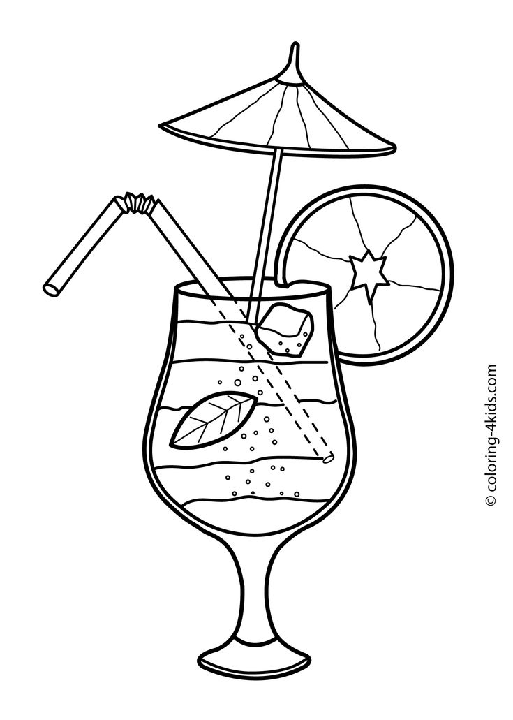 Summer cocktail coloring pages