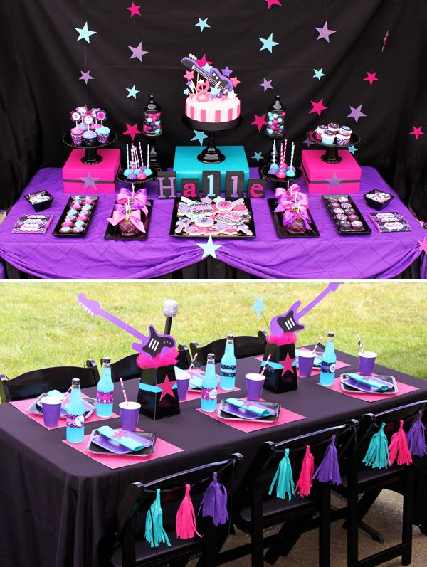 neon party ideas for kids   HWTM > Kids Birthday > Parties for Girls > Bright & Girly Rockstar ...