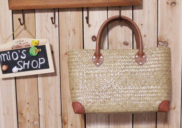 【受注製作】南国風!天然素材のオリジナル手編みハンドかごバッグ B3158 かごバッグ mio's shop ハンドメイド通販・販売のCreema