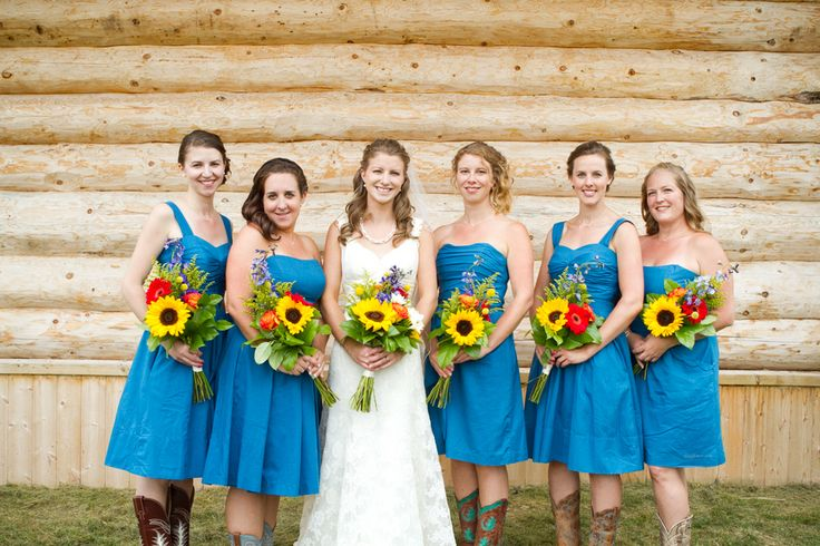 western bridesmaids dresses | The bridesmaids wore short dresses that showed off their cowboy boots ...
