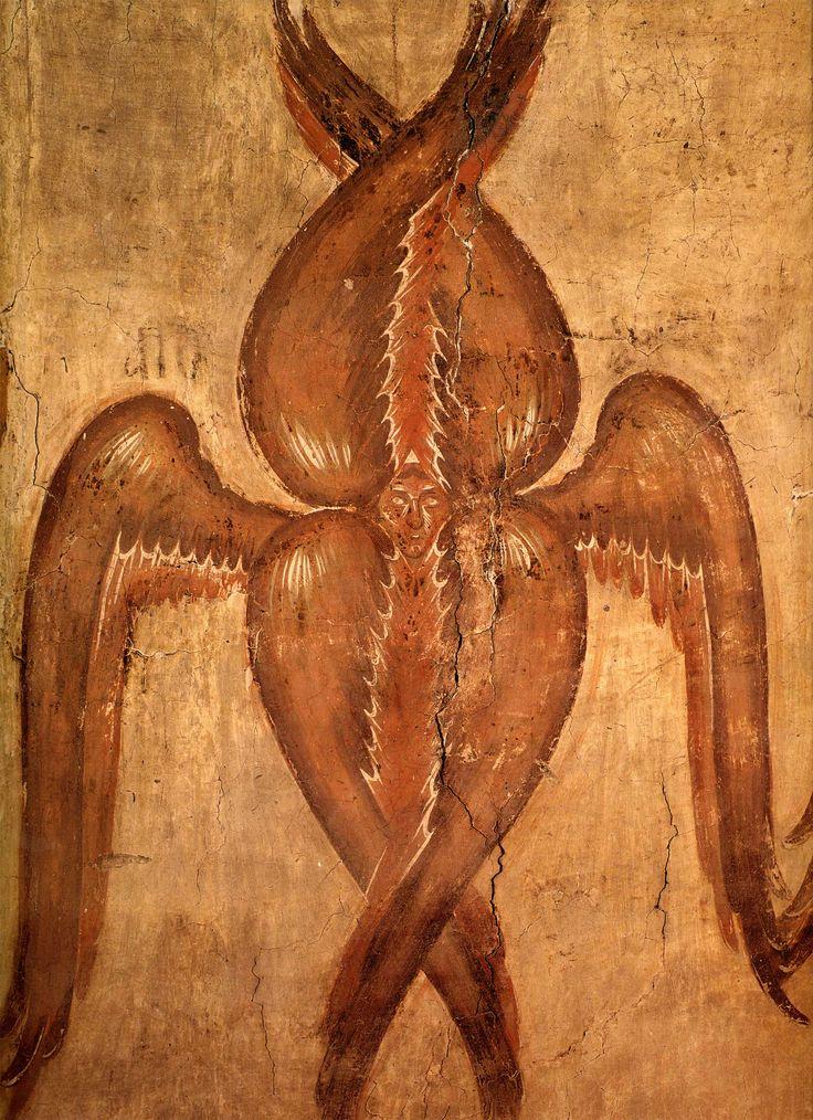 Серафим, фреска в барабане купола церкви Спаса Преображения на Ильине улице, Феофан Грек, 1378 г.