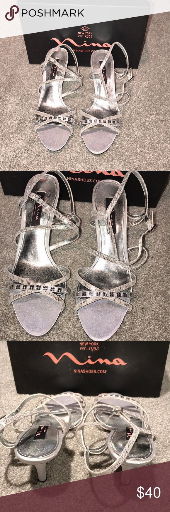 """Nina silver strappy shoes Never been worn 3"""" silver strappy shoes by Nina. 9.5 Nina Shoes Heels"""