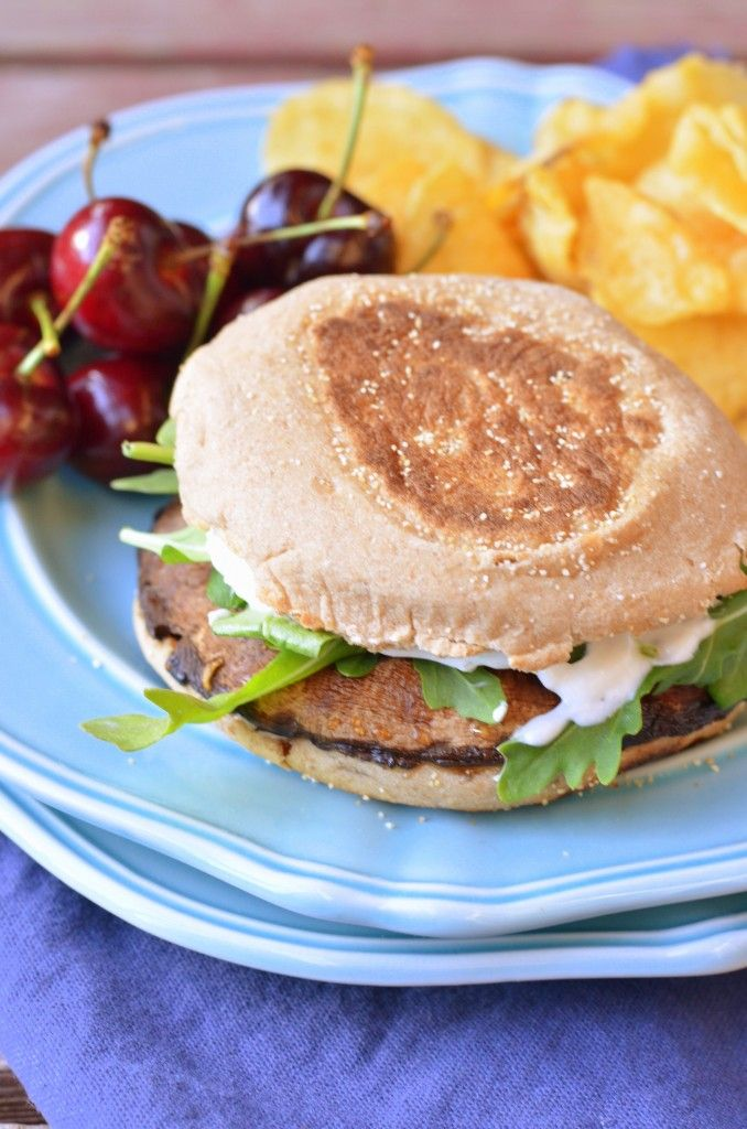 Cayenne Portobello Burgers with Herbed Goat Cheese Spread