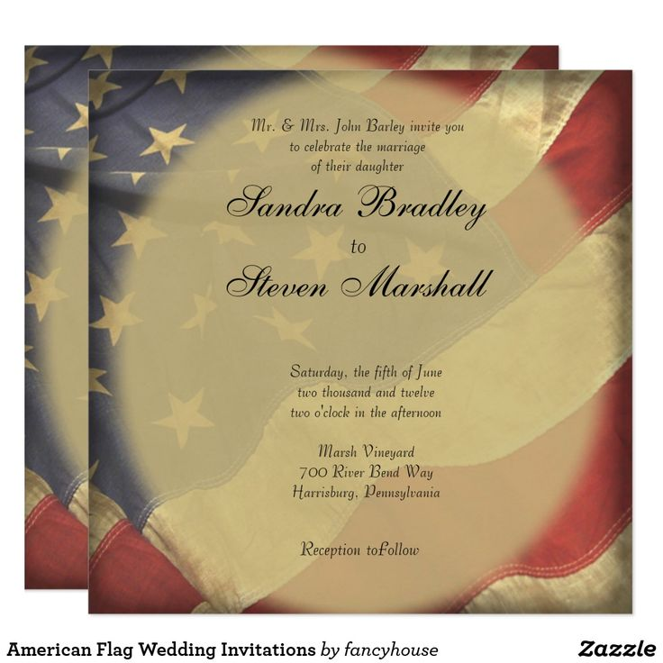 American Flag Wedding Invitations. 2nd place sellers.   25% Off #leatherwooddesign #zazzle