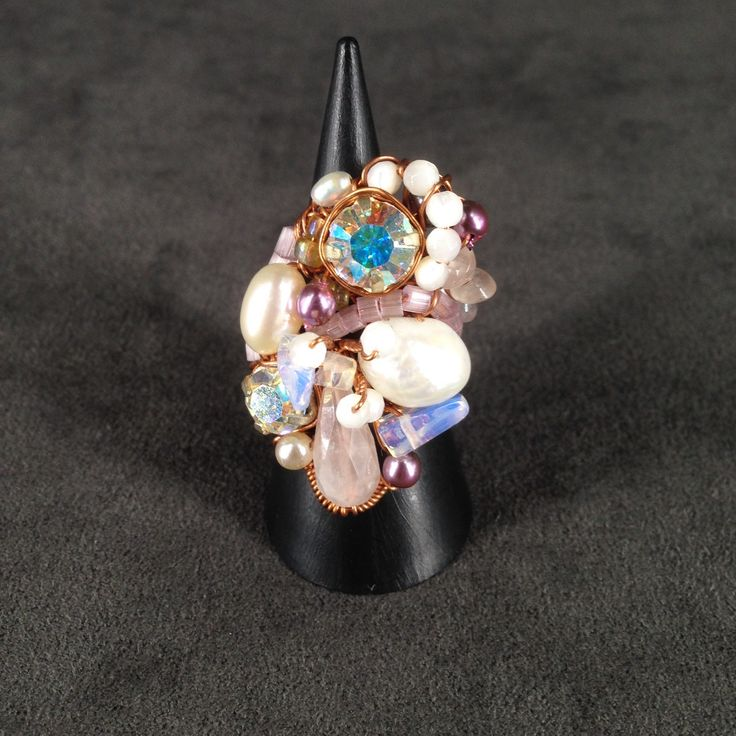 Pearl and rose quartz copper ring by TrinesTreasures on Etsy