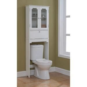 Runfine Etagere 24 in. W x 69 in. H x 8 in. D Over the Toilet Storage Cabinet in White RFBW01011 at The Home Depot - Mobile