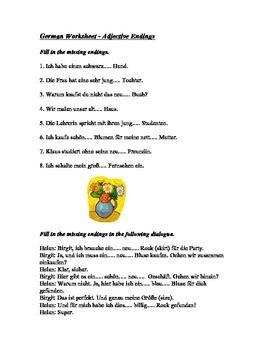 german adjective endings worksheet and handout spanish german resources worksheets. Black Bedroom Furniture Sets. Home Design Ideas