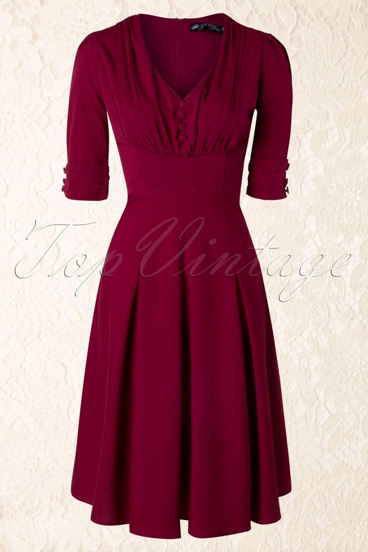 Bunny - 40s June Dress in Raspberry Red