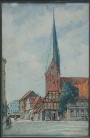 """Aquarell. Eutin. """"Am Markt in Eutin, mit Blick auf die Kirche"""""""