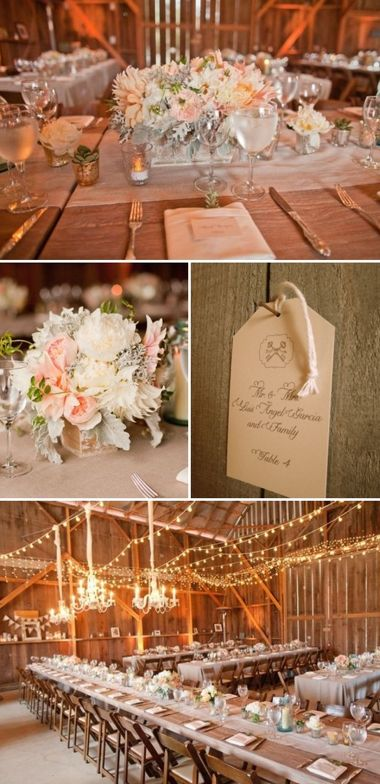 dusty rose and champagne barn wedding love the colors and chandeliers in the barn!