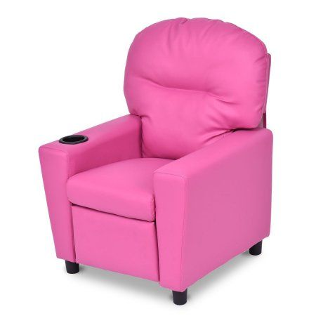 Pink Black Kids Recliner Sofa With Cup Holder Red Recliningsofa