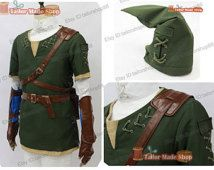The legend of zelda twilight princess green link cosplay costume