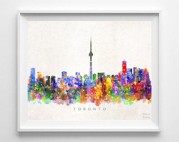 Toronto Skyline Print Canada Cityscape Watercolor by InkistPrints
