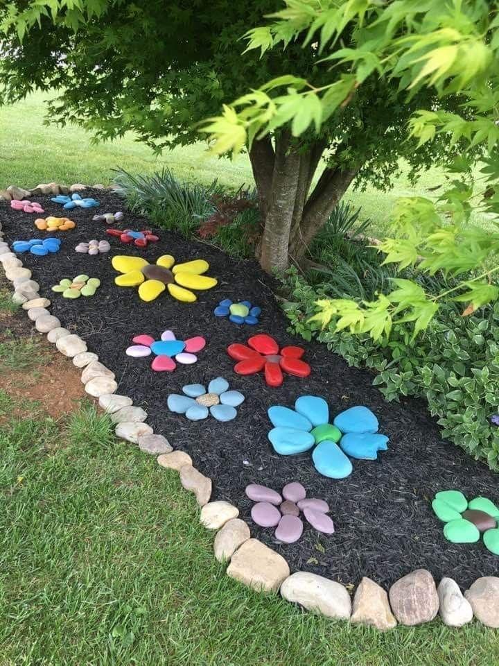 Painted Rocks Flower Garden