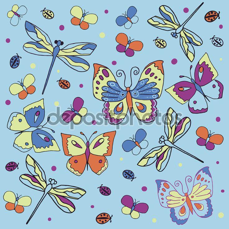 Бабочки и божьи коровки картинки 6