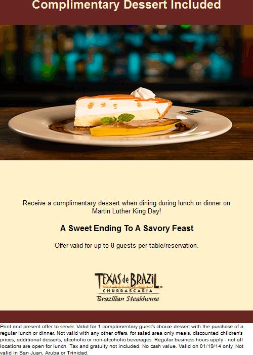 Pinned January 11th: Free dessert with your meal the 19th at #Texas de Brazil steakhouse #coupon via The #Coupons App
