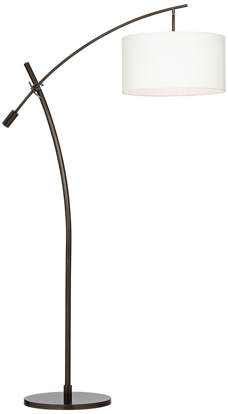 Bronze Boom Arc Floor Lamp With Linen Shade | LampsPlus.com